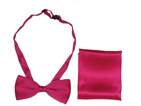 Sir Michele Hot Pink Mens Pre-tied Bow Tie And Pocket Square