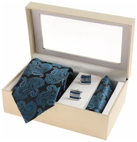 Sir Michele Designer Blue Micro Silk Tie;Pocketsquare and Cufflink Set for Men (Pack of 3)