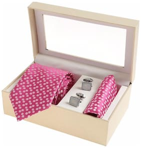 Sir Michele Designer Pink Micro Silk Tie;Pocketsquare and Cufflink Set for Men (Pack of 3)