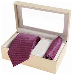 Sir Michele Designer Purple Micro Silk Tie and Pocketsquare Set for Men (Pack of 2)