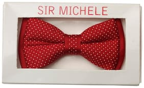 Sir Michele Red Polka Dots Microfiber Mens Pre-tied Bow Tie