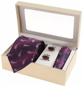 Sir Michele Designer Purple Micro Silk Tie;Pocketsquare and Cufflink Set for Men (Pack of 3)