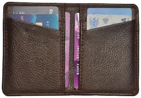 Slim Brown Credit Card Holder with 6 Card Slots