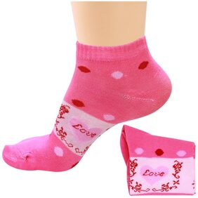 Socks Women Printed Design Ankle Length Colour Pink Design May Vary 1 Pair