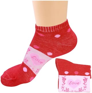 Socks Women Printed Design Ankle Length Colour Red  1 Pair (Assorted)