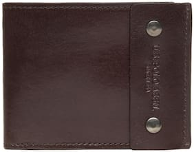 U.S. Polo Assn. Men Brown Leather Bi-Fold Wallet ( Pack of 1 )