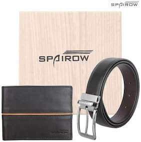 """SPAIROW"" EGO Blak Men'S Leather Wallet & Belt Combo (EGO-0201 BT-0102R) (Reversible) (9 Card Slot)"