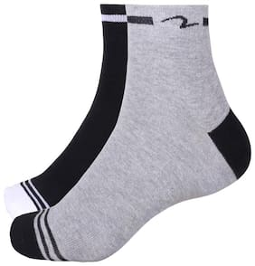 Spykar Black & Grey Cotton Ankle length socks ( Pack of 2 )
