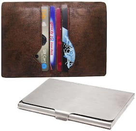 Steel and Pu leather designer wallet card holder. ATM Credit Debit card holder, Multi card holder, unisex card holder. Artificial leather card holder