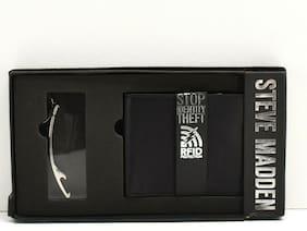 Steve Madden Men's Wallet + Bottle Opener Set Black Leather RFID Protection New!