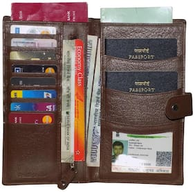 Style 98 Brown Premium Quality Leather Card Holder/Passport Wallet For Men and Women
