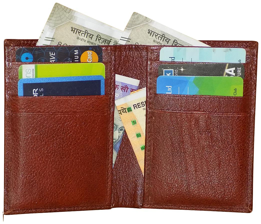 Style 98 Brown Genuine Leather Wallet with 12 Card Slots