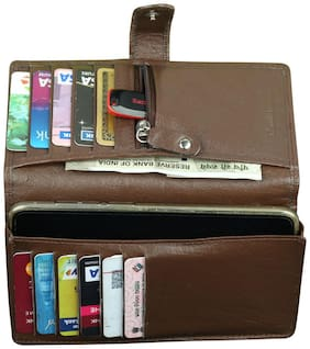 Style 98  Brown premium quality leather  Travel Card Holder With Mobile Slot
