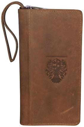 Style 98 Tan 100% Genuine Leather Travel Document Holder/Long Wallet With Passport Holder