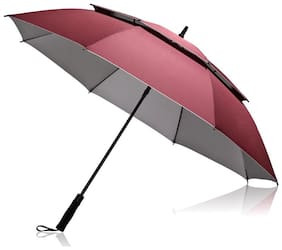 Style Homez Luxury Collection Extra Large Auto Open Golf Umbrella, Wind Proof Vent Canopy Cherry Color (150 cm | 60 inch)