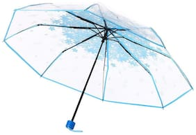 Style Homez Luxury Collection UV Coated 3-Fold PVC Umbrella, 110 cm Baby Blue Color