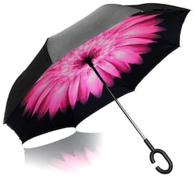 Style Homez Innovative Double Layer UV Coated Inverted Reversible Large Black Umbrella, 125 cm Floral Pink Color