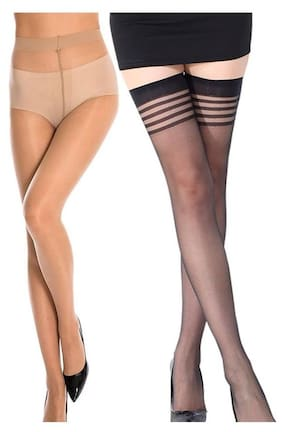 4f13146c5 Stylefolio Combo of Women s Pantyhose and Thigh High Stockings Excellent  Stretch Long Comfort Sheer Super Fine