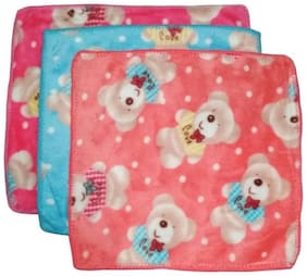 Stylewell Pack Of 3 pcs Premium Quality Beautiful Bunny Teddy Bear Design Pure Extra Soft (Size:25x25 cm) Multi Purpose Towel Wet & Dry Multi Color/ Pattern Cloth Hankies/ Hanky/ Handkerchief