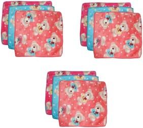 Stylewell Pack Of 9 pcs Premium Quality Beautiful Bunny Teddy Bear Design Pure Extra Soft (Size:25x25 cm) Multi Purpose Towel Wet & Dry Multi Color/ Pattern Cloth Hankies/ Hanky/ Handkerchief