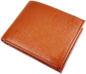 Stylish PU Leather Album Tan Men's Slim Wallet with Card Holder and 1 Coin Pocket