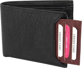 stylish wallet separable pocket pure leather (pu) wallet ( mix black & brown bacha)