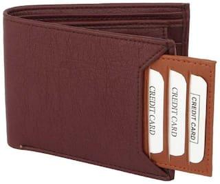 stylish wallet separable pocket pure leather (pu) wallet ( mix  brown & tan bacha )