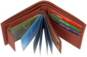 Stylish Wallet For Men, PU Leather, Tan in colour, Bi-Fold, Hand Made, Long Lasting Quality, (Model-MW-SA-T-0021)
