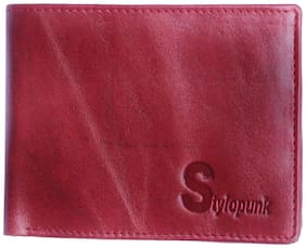 STYLOPUNK Men Red Leather Bi-Fold Wallet ( Pack of 1 )