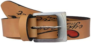 Sunshopping Men Tan Synthetic leather Belt (Size: 32 , Pack of 1 )