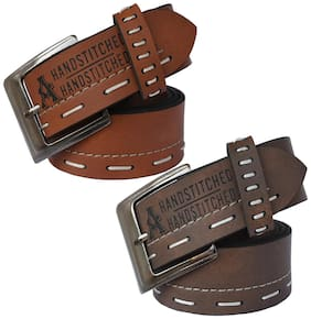 Sunshopping Men Brown Synthetic leather Belt (Size: 30 , Pack of 2 )