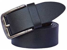 Sunshopping Men Black Leather Belt (Size: 34 , Pack of 1 )