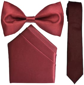 Sunshopping men's maroon micro fiber tie bow and pocket Square combo pack of-3