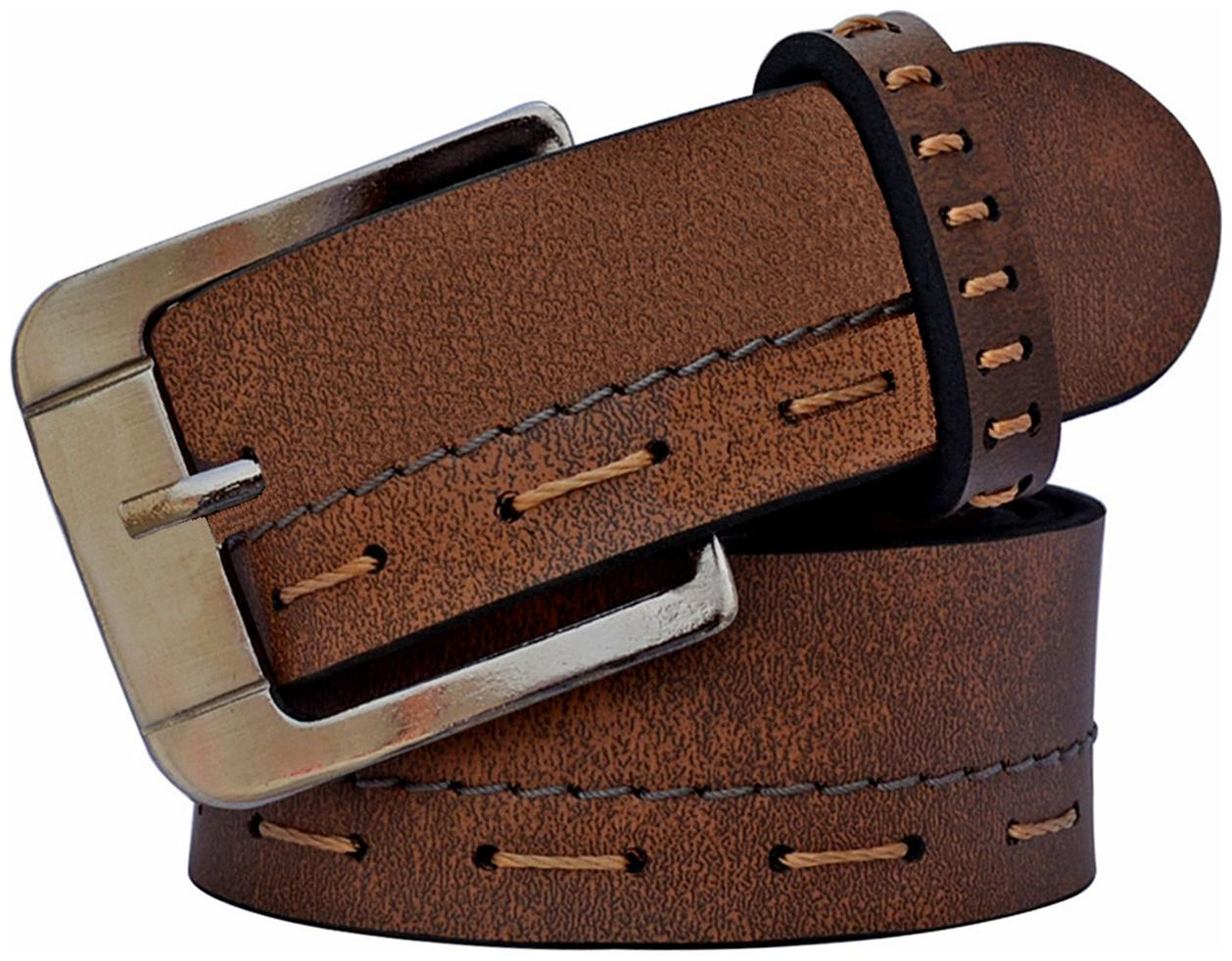 Sunshopping men's Brown Needle Pin Point Buckle Leatherite belt