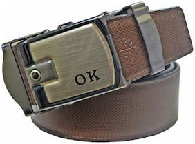 Sunshopping men's brown leatherite auto lock buckle belt (size from 28 to 42 )
