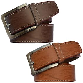 Sunshopping Men Black & Brown Synthetic leather Belt (Size: 30 , Pack of 2 )