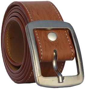 Sunshopping men's tan leatherite needle pin point buckle belt (size from 28 to 38)