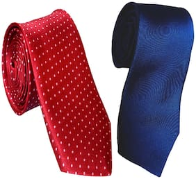 Sunshopping men's maroon and navy blue Microfiber narrow tie (pack of-2)