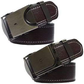 Sunshopping Men brown leatherite needle pin point buckle belt