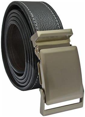 Sunshopping men's black non leather auto lock buckle belt