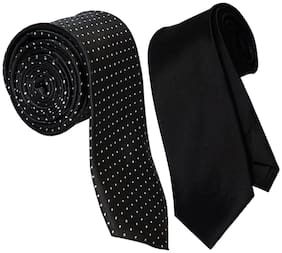 Sunshopping men's black Microfiber narrow tie (pack of-2)