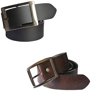 Sunshopping men's black and brown leatherite needle pin point buckle belt size from 28 to 38 (pack of two)