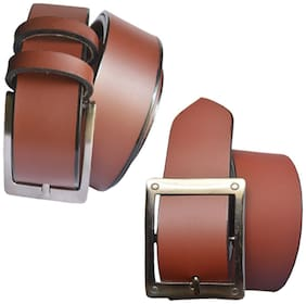 Sunshopping men's brown leatherite needle pin point buckle belt size from 28 to 38 (pack of two)