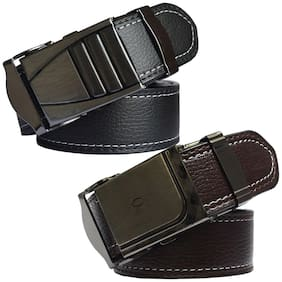 Sunshopping men's black and brown leatherite auto lock buckle belt size from 28 to 42 (pack of two)