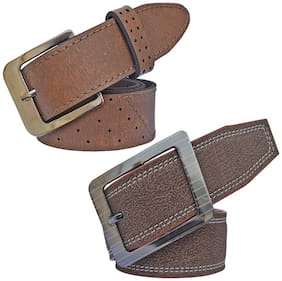 Sunshopping Men Brown Synthetic leather Belt (Size: 28 , Pack of 2 )