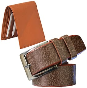 Sunshopping men's brown leatherite needle pin point buckle belt with tan color bifold synthetic leather wallat size from 28 to 38 (combo)