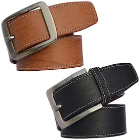 Sunshopping men's Black and Tan Leatherite belts combo