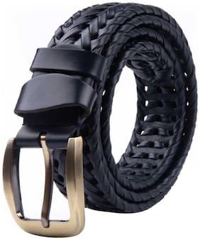Sunshopping Men's Casual Black Genuine Leather Belt