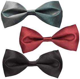 Sunshopping men multi coloured neck bow tie(pack of three)
