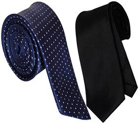Sunshopping men's navy blue and black Microfiber narrow tie (pack of-2)
